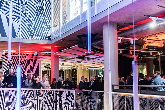 XYZ Building's 3 storey foyer digital art installation: We worked with Gibson Martelli to create a bespoke, site specific version of their monochromatic 'MAN A' augmented reality art project.