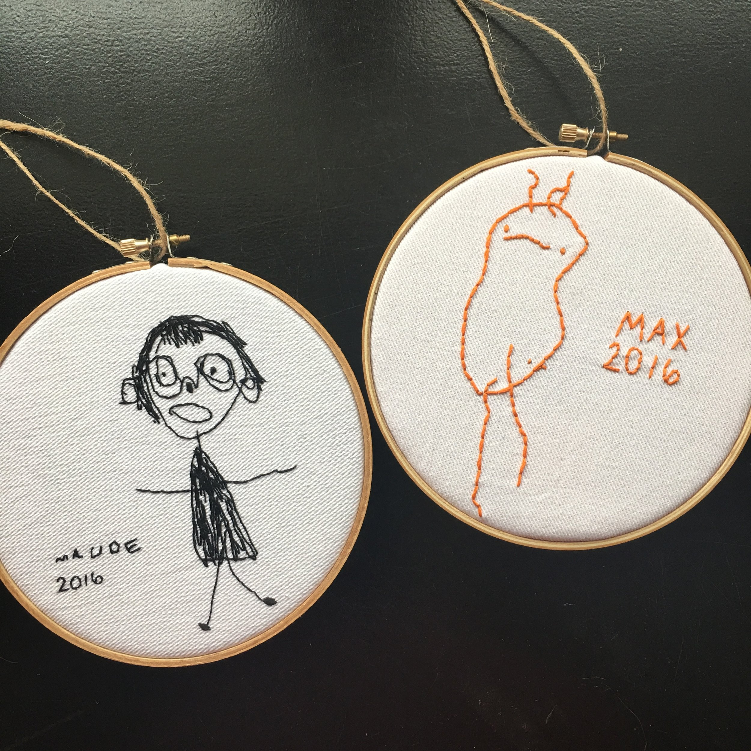 People order my embroidered children's art pieces because they are looking for unique and meaningful gifts, often for grandparents of the little artists.