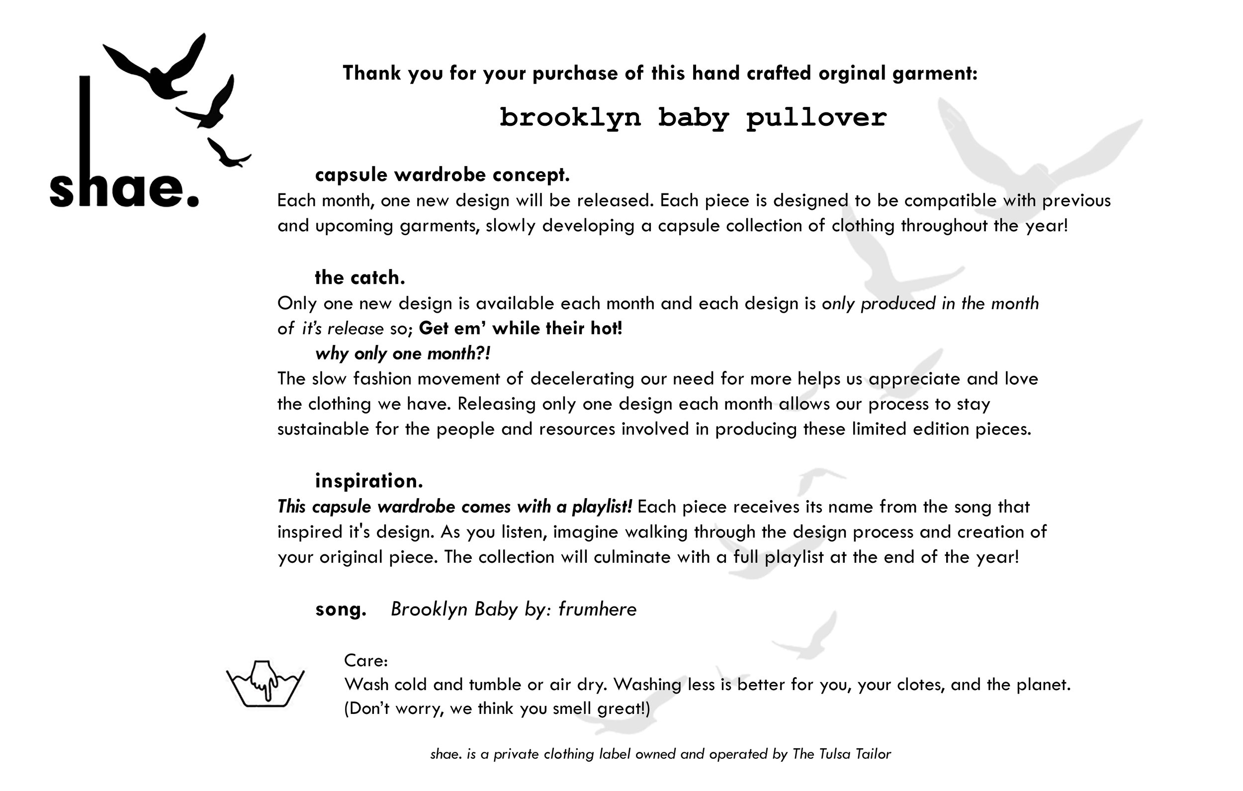 Brooklyn Baby Pullover Concept Card also included with each package for context on intent of the clothing line.