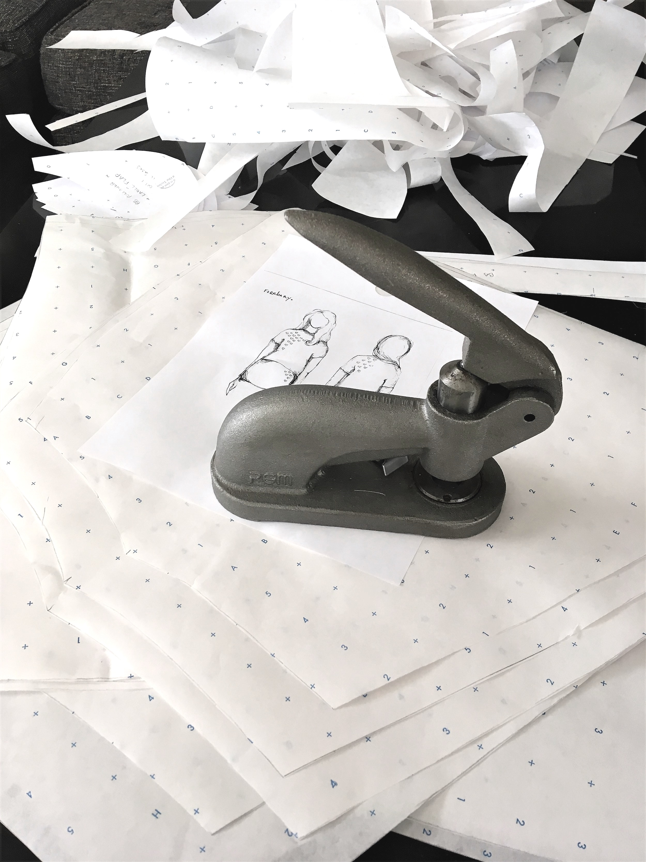 Drafting the paper patterns to use as a 'blueprint' for cutting.