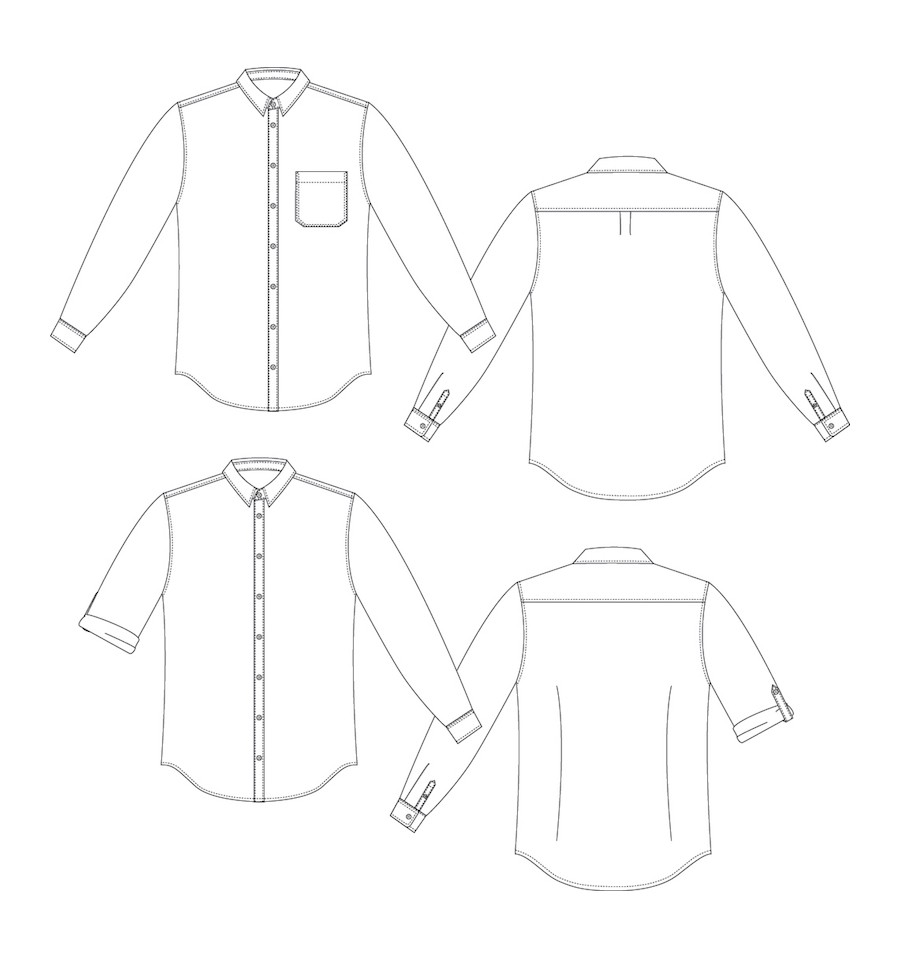 PDF Illustration on Thread Theory Sewing Pattern for the Fairfield Button-Up.
