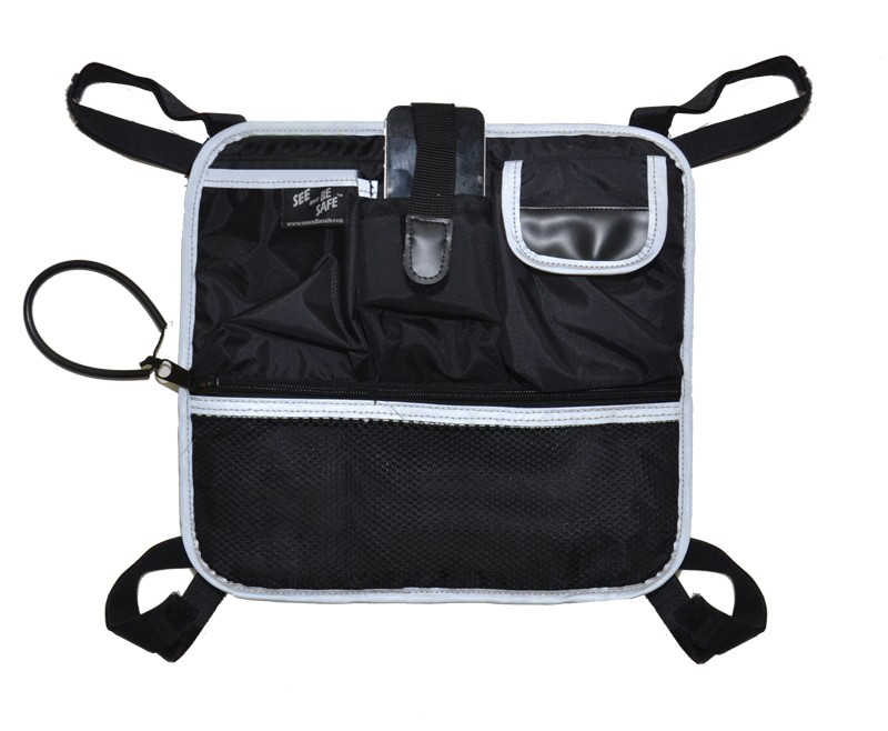 Convenient to use and versatile enough to fits water bottles as well as iPads. The tote can be seen from 500 feet and adds greater sense of independent mobility to the user.