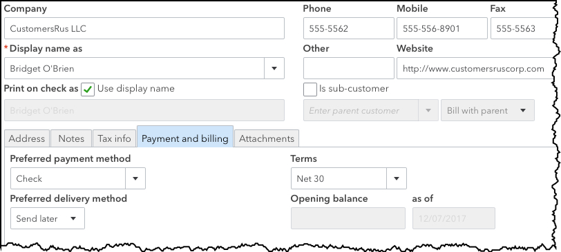 You can create a profile for each customer in the  Customer Information  window.