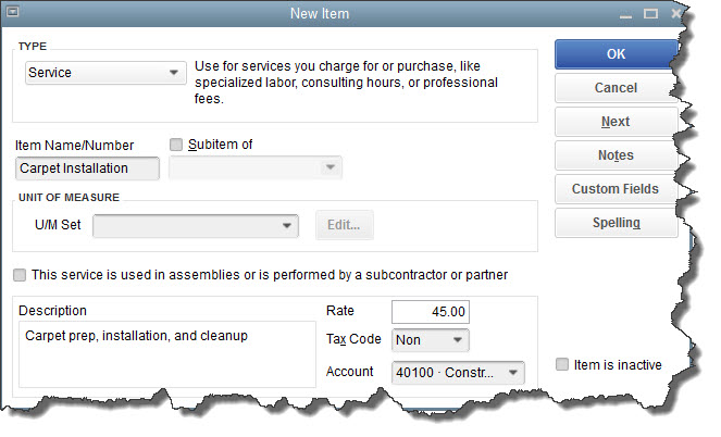 You can create numerous types of items in QuickBooks;  Service  is one of them.