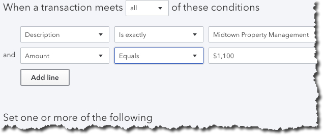 You can create    Bank Rules    in QuickBooks Online that will automatically assign a    Transaction type   ,    Payee   , and    Category    to imported items that meet specific conditions.
