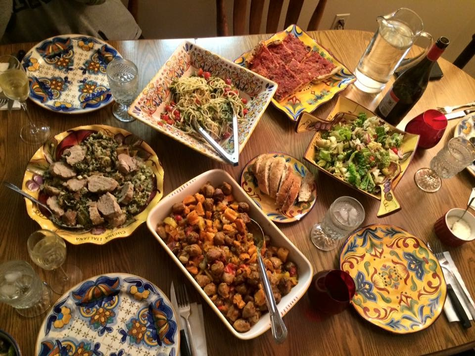 A view of mom's dinner table when she does the cooking. She's no joke.
