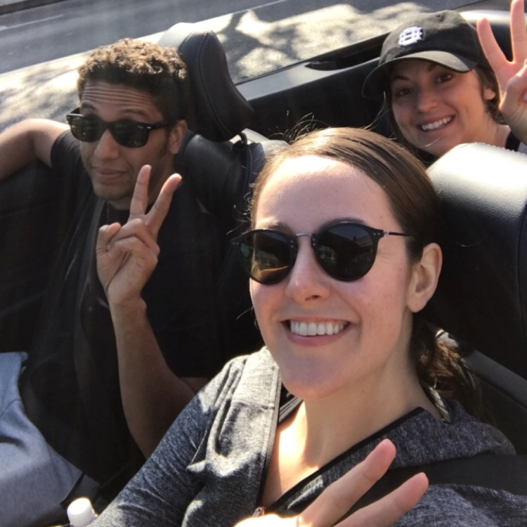 Cruising top down with our hostess, April