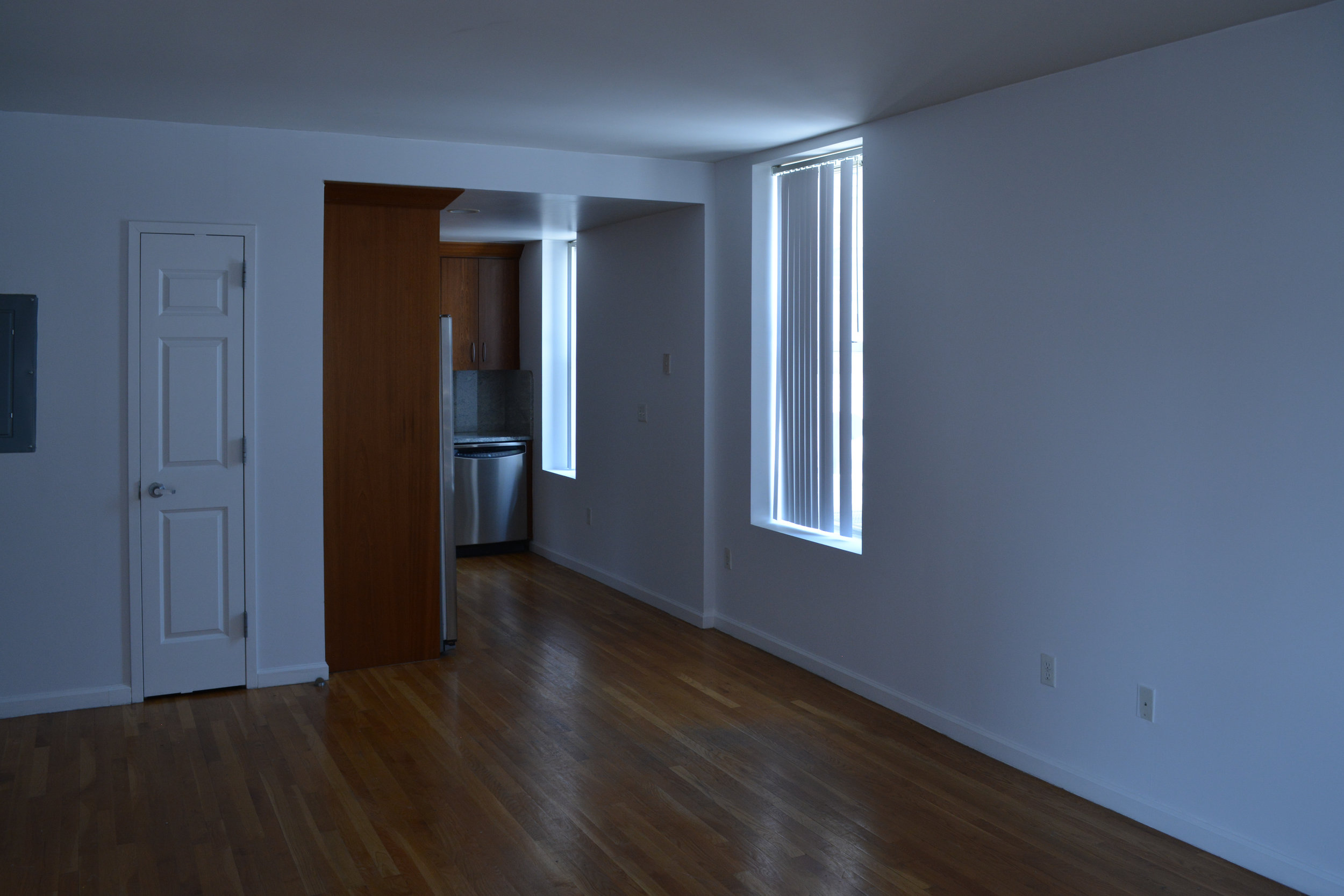 The kitchen flowed right directly into one very large open space, so I have to think about