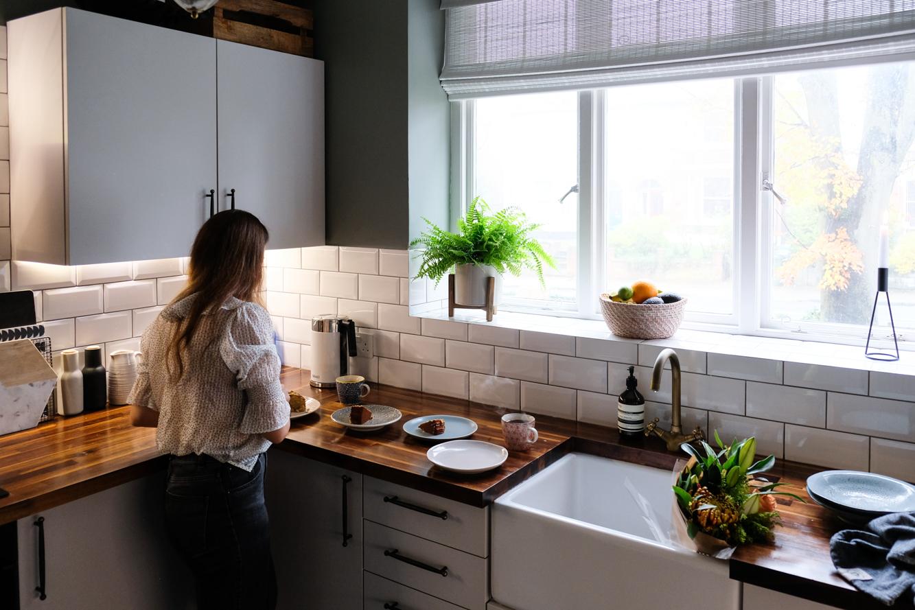 Kelly in her stunning kitchen.