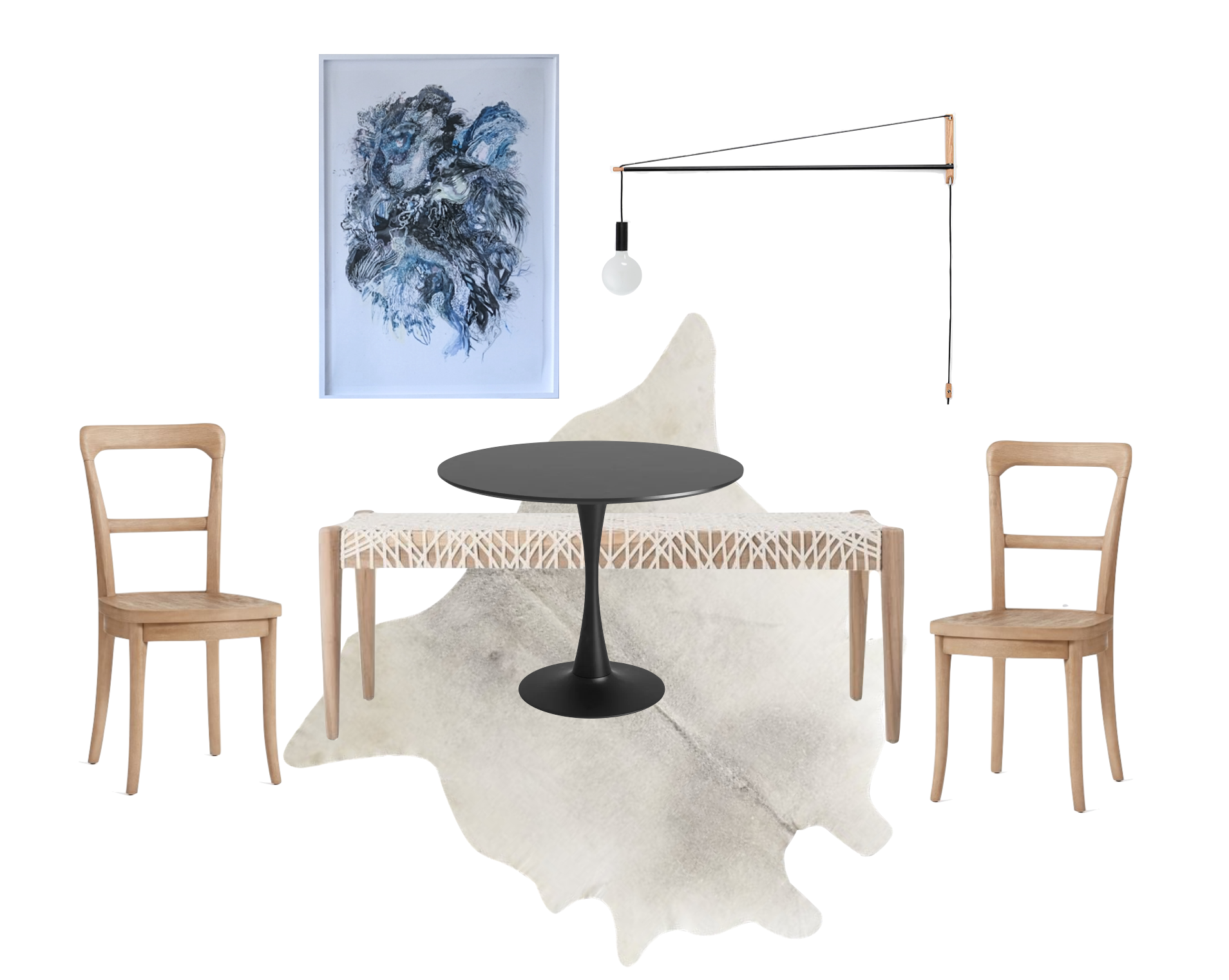 Sources:    Chairs   ,    Table   ,    Rug   ,    Bench   ,    Light   , and    Art