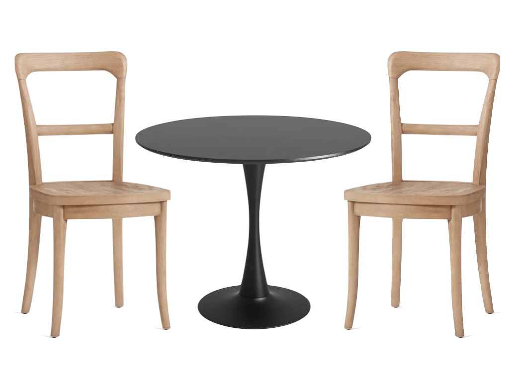 I tried pairing the Pottery Barn bistro chairs with a    black tulip table from Wayfair   .