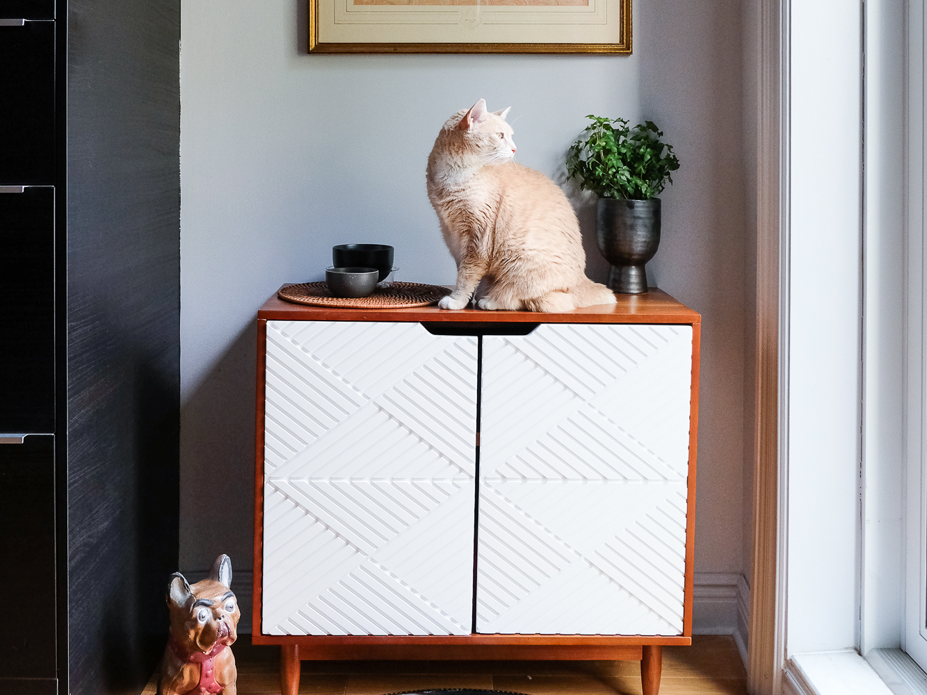 I used  this chest from the new Opalhouse collection  to create a corner for the pets in our kitchen. It has worked out perfectly.