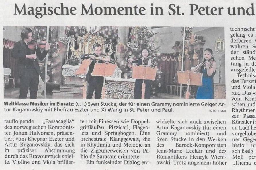 Magical moments in st. peter and paul church - Garmisch-Partenkirchen Tagblatt02.01.2018