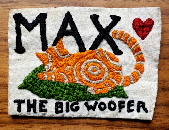 Embroidery patch made in honour of my beloved cat Max, around the age of 15. A very important work.