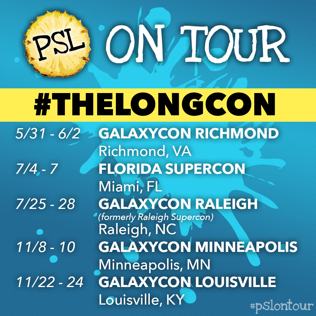 We're coming to a city near you! - We are very excited to announce that we have partnered with the fine folks at GalaxyCon (formerly known as Supercon) to embark on a multi-stop tour across the country!Our #TheLongCon 2019 tour encompasses five different conventions from May through November, and will include some familiar friends (Florida Supercon and the newly-rechristened GalaxyCon Raleigh) as well as some new faces (Minneapolis! Richmond!).What better way to celebrate the occasion then by bringing you, our lovely fans, a little gift? You've asked for it! You've demanded it! And now, we're pleased to announce that we will premiere a BRAND-NEW shadowcast of the 1987 classic The Princess Bride at all five of these conventions!But that's not all! Attendees of GalaxyCon Raleigh will be in for a special treat, as our Rocky Horror Picture Show shadowcast will feature an incredible guest list, including Barry Bostwick, Patricia Quinn, Nell Campbell, Meat Loaf, and none other than Dr. Frank N. Furter himself, Mr. Tim Curry!Tickets are available now for all five conventions, with special discount codes available for all dates! For more information, visit our Shows page.