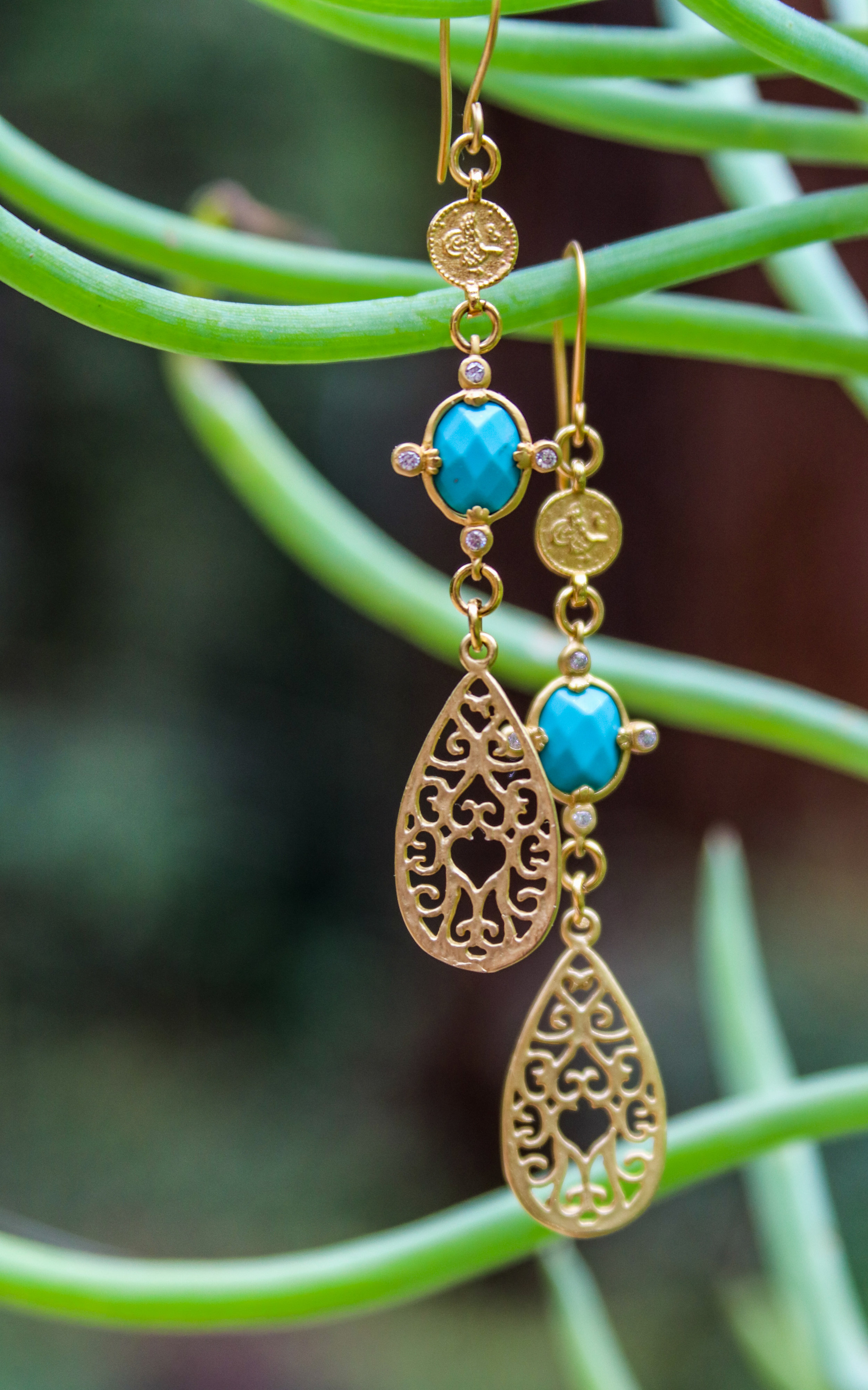 Turquoise with CZ's and Gold Vermeil
