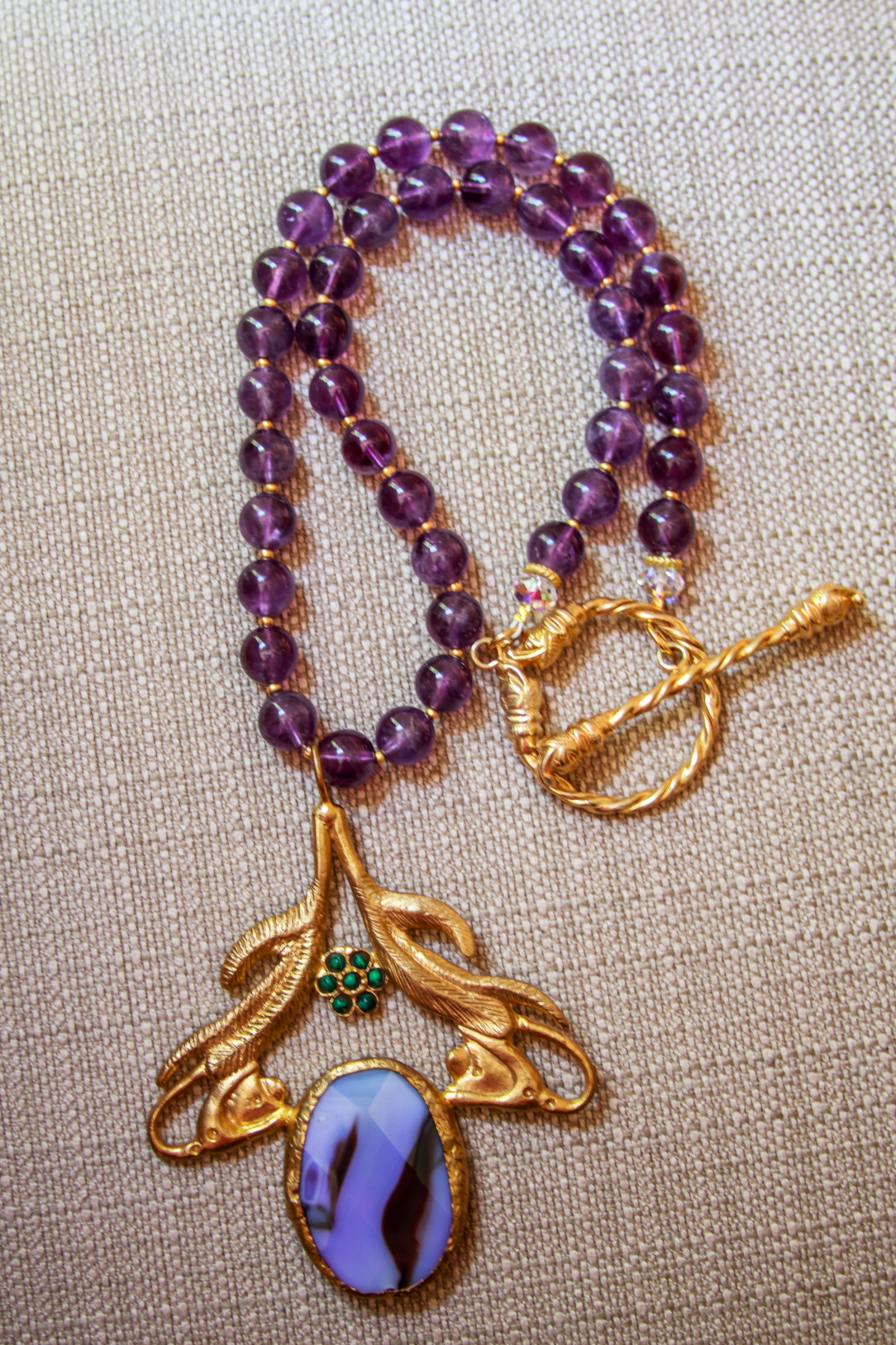 Vintage Glass Pendant with Amethyst