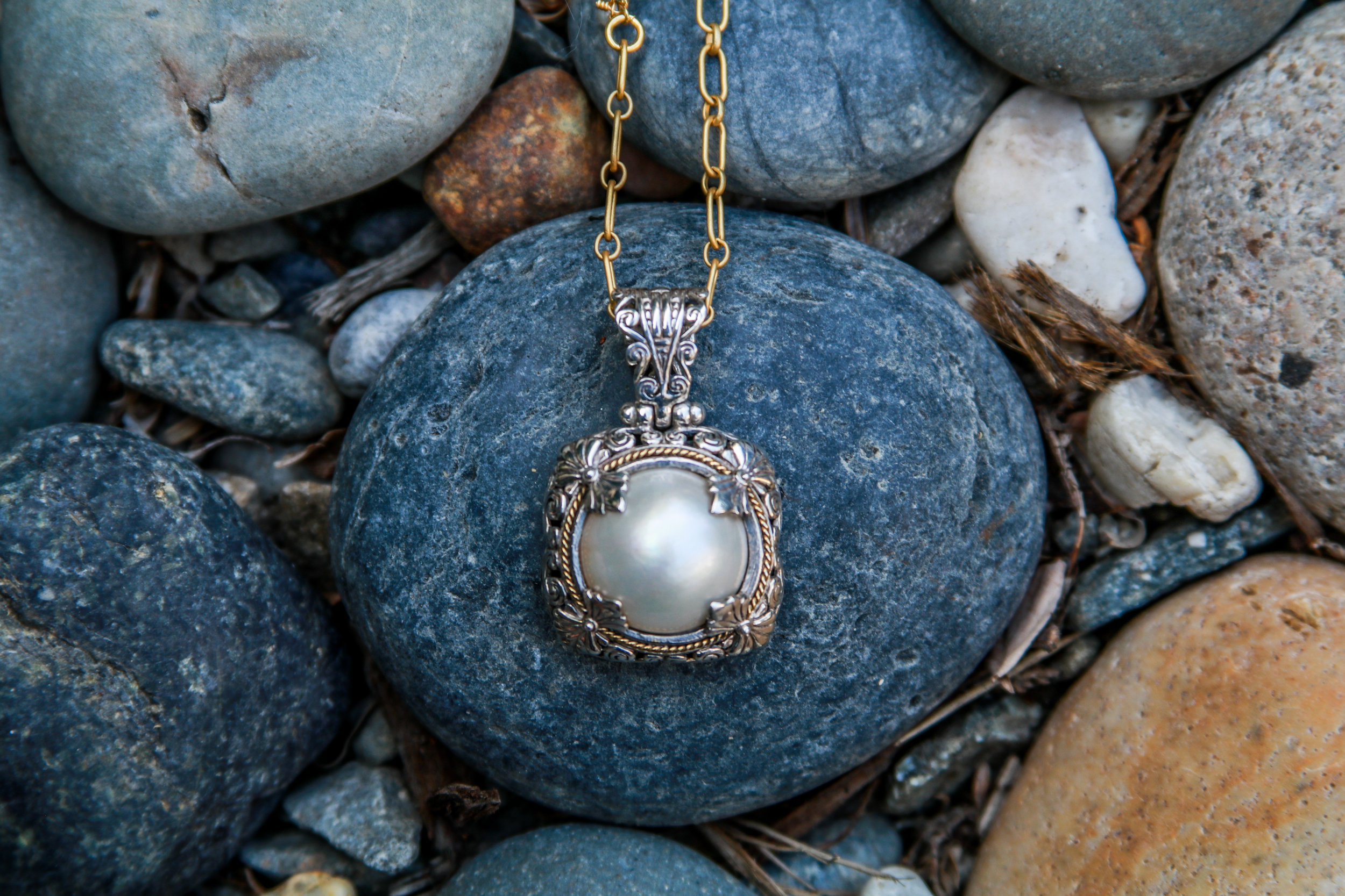 Baroque Pearl with Silver & Vermeil