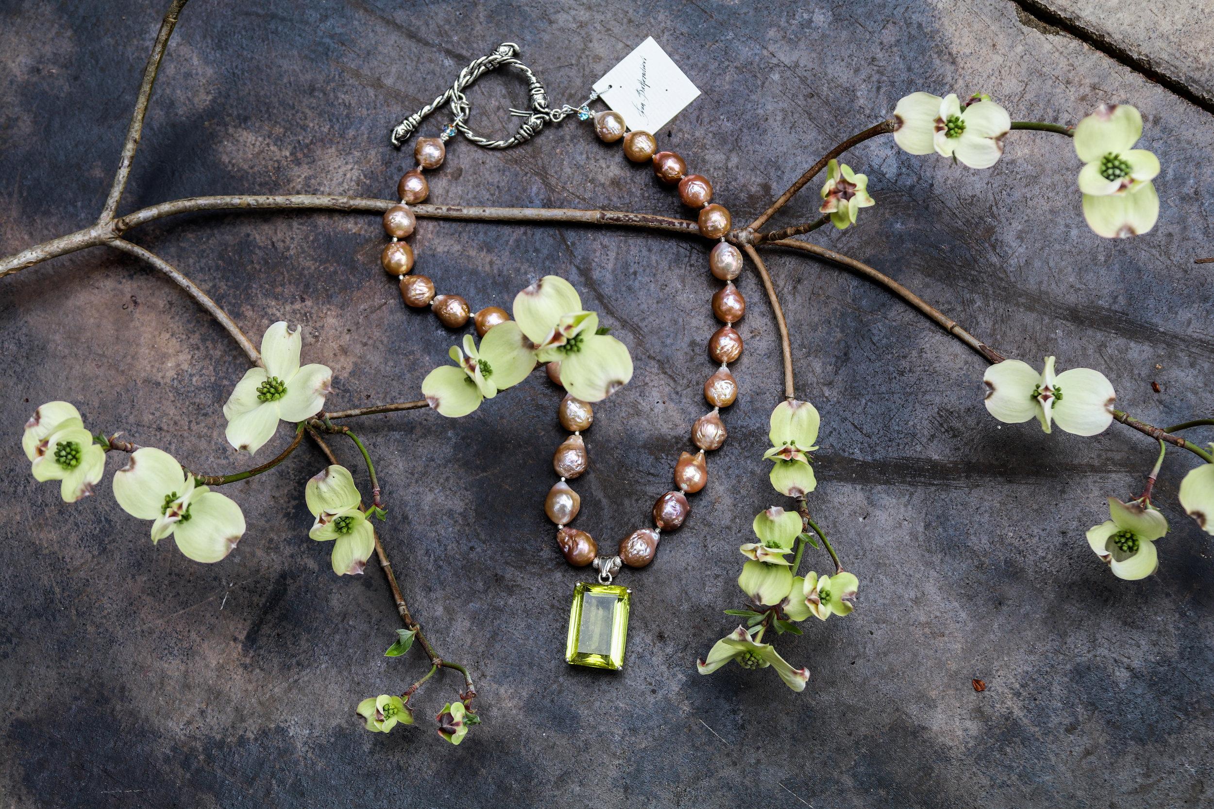 Enhanced Moss Green Quartz with Fresh Water Pearls