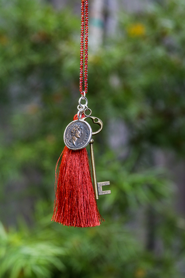 Siler Copper Coin, Copper Key, Silk Tassel Garnet