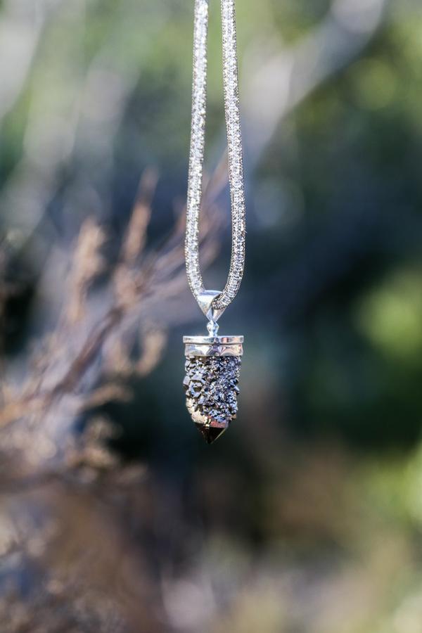 Silver Druze Mesh w/ Crystals