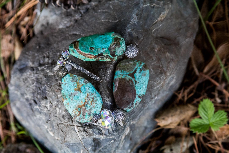 Turquoise Silver Rhinestones
