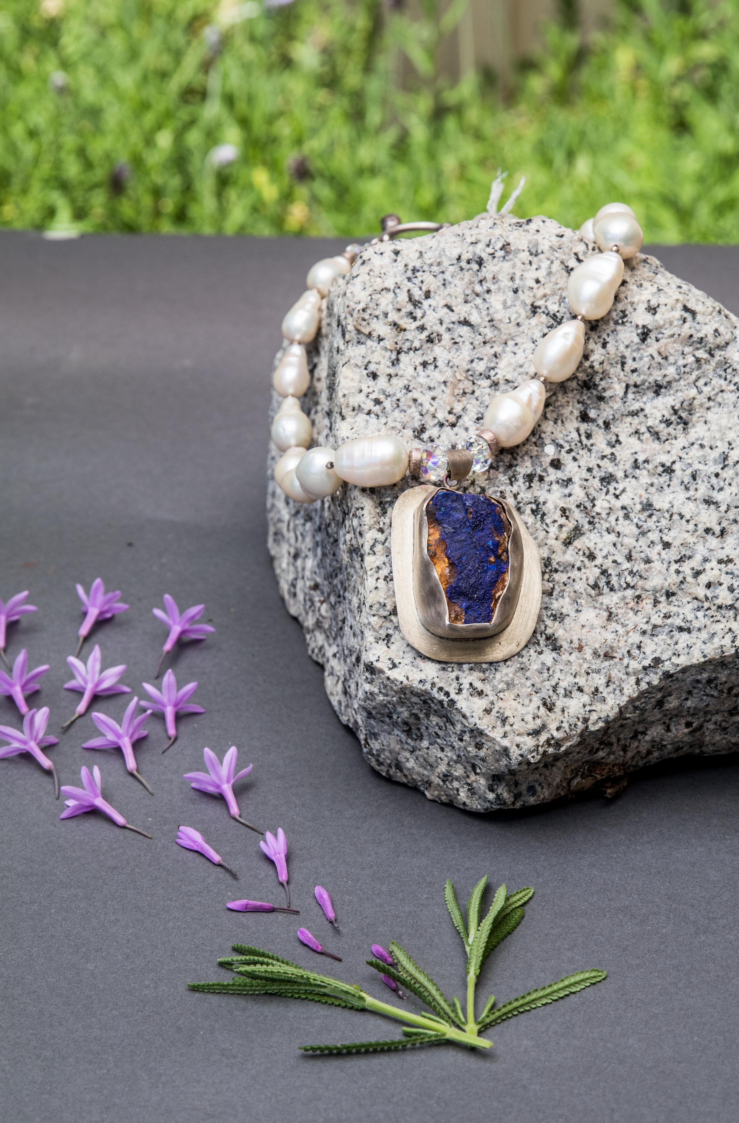 Azurite Fresh Water Pearls