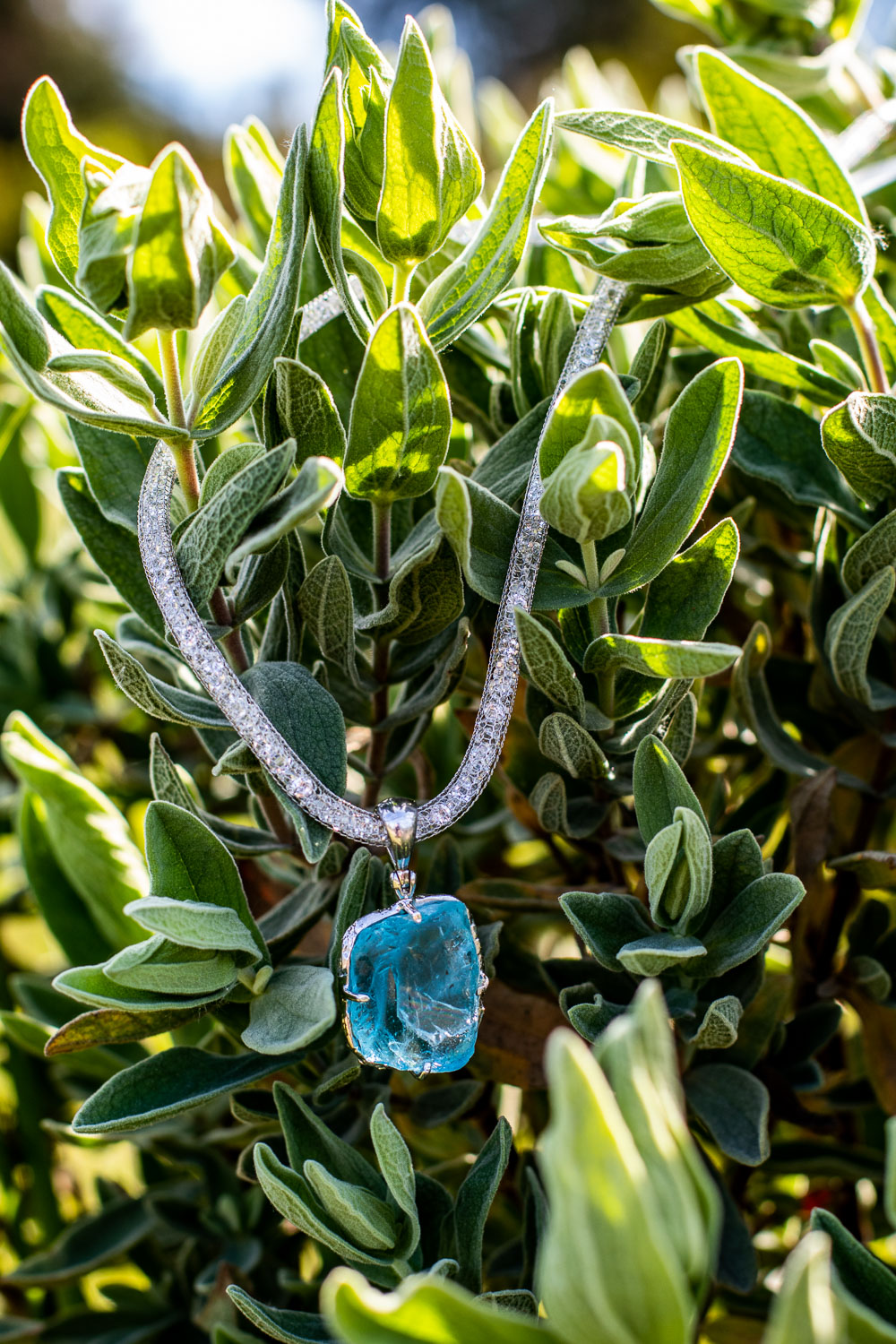 Raw Blue Topaz, Silver Mesh with Crystals