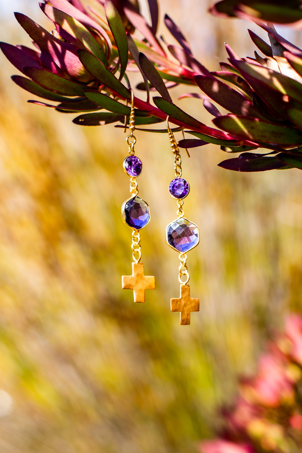 Amethyst and Gold Vermeil Cross