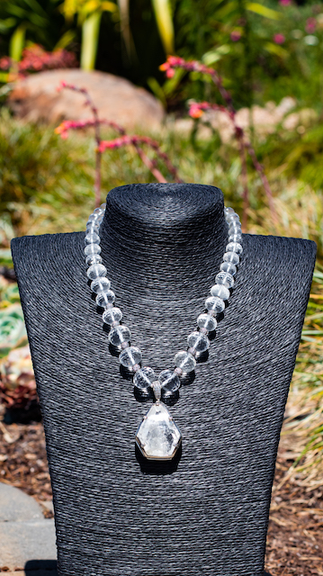 Quartz Crystal, White Topaz, and Sterling Silver