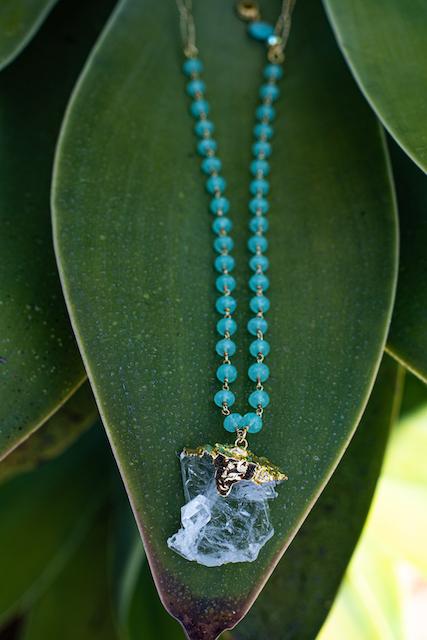 Quartz Crystal, 18k Gold Vermeil, Chalcedony