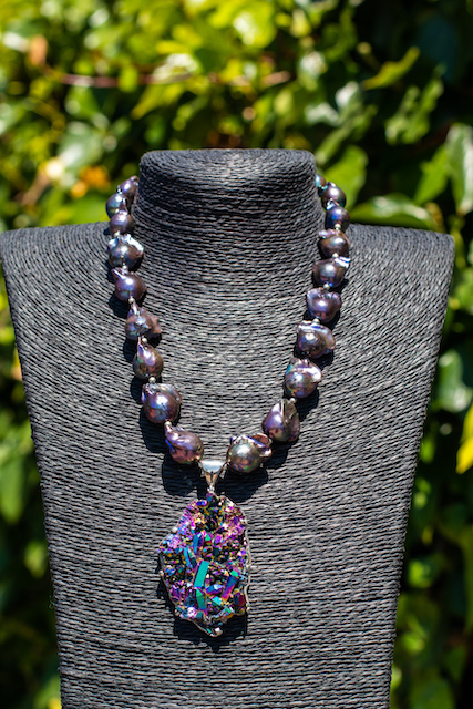 Baroque Pearls Chardonnay Druze and Sterling Silver