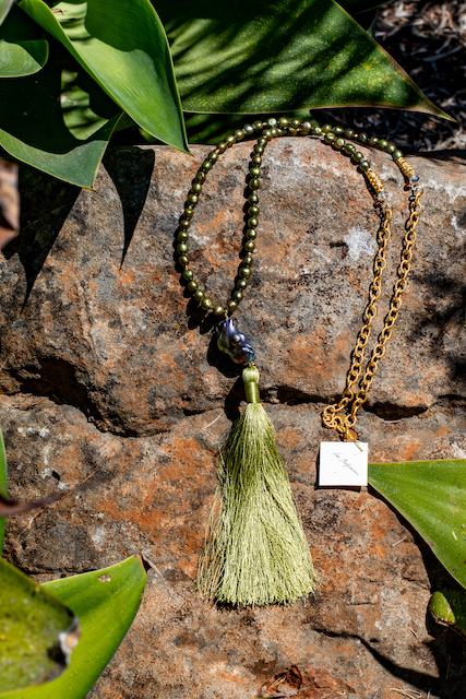 Baroque Pearl, Fresh Water Pearls, and Green Tassel