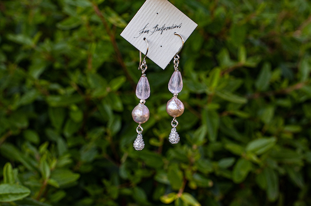 Fresh Water Pearls, Rose Quartz, Silver Crystals