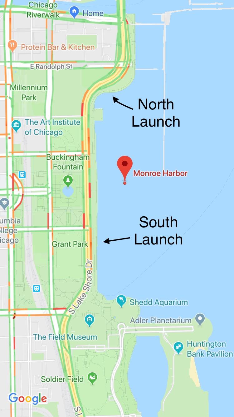 Launch Spot Locations in Monroe Harbor