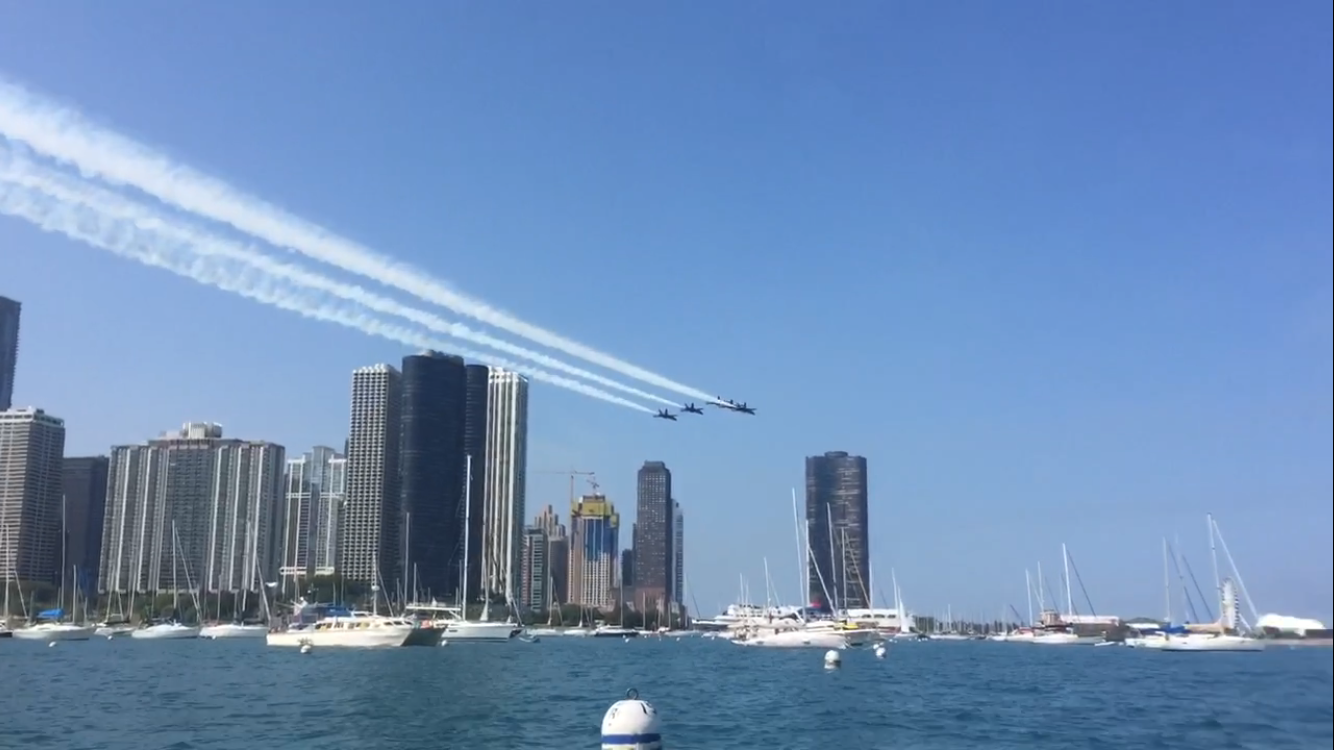 Watching the Blue Angels from my iSUP in Monroe Harbor
