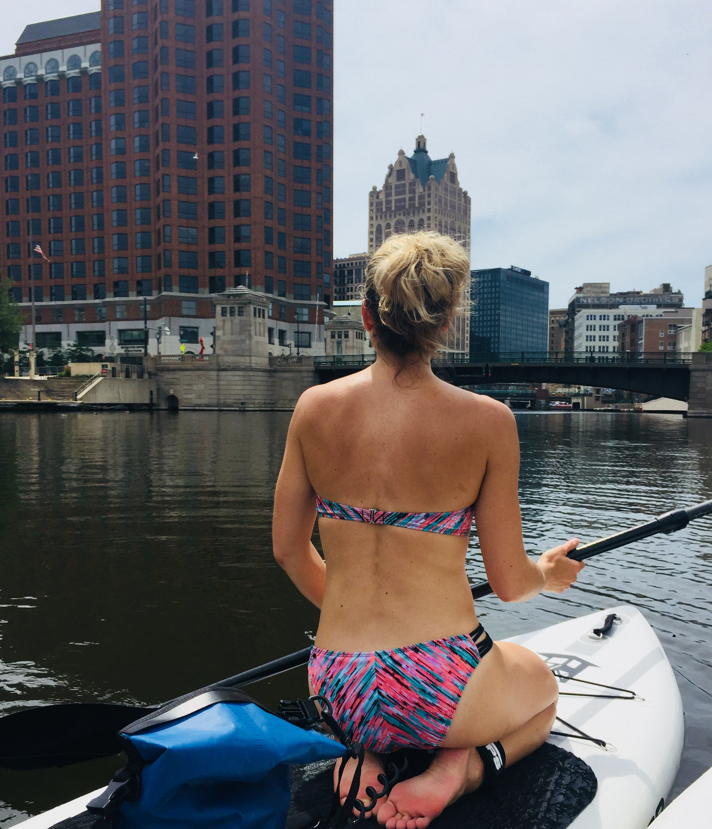 Admiring the city skyline from the Milwaukee River