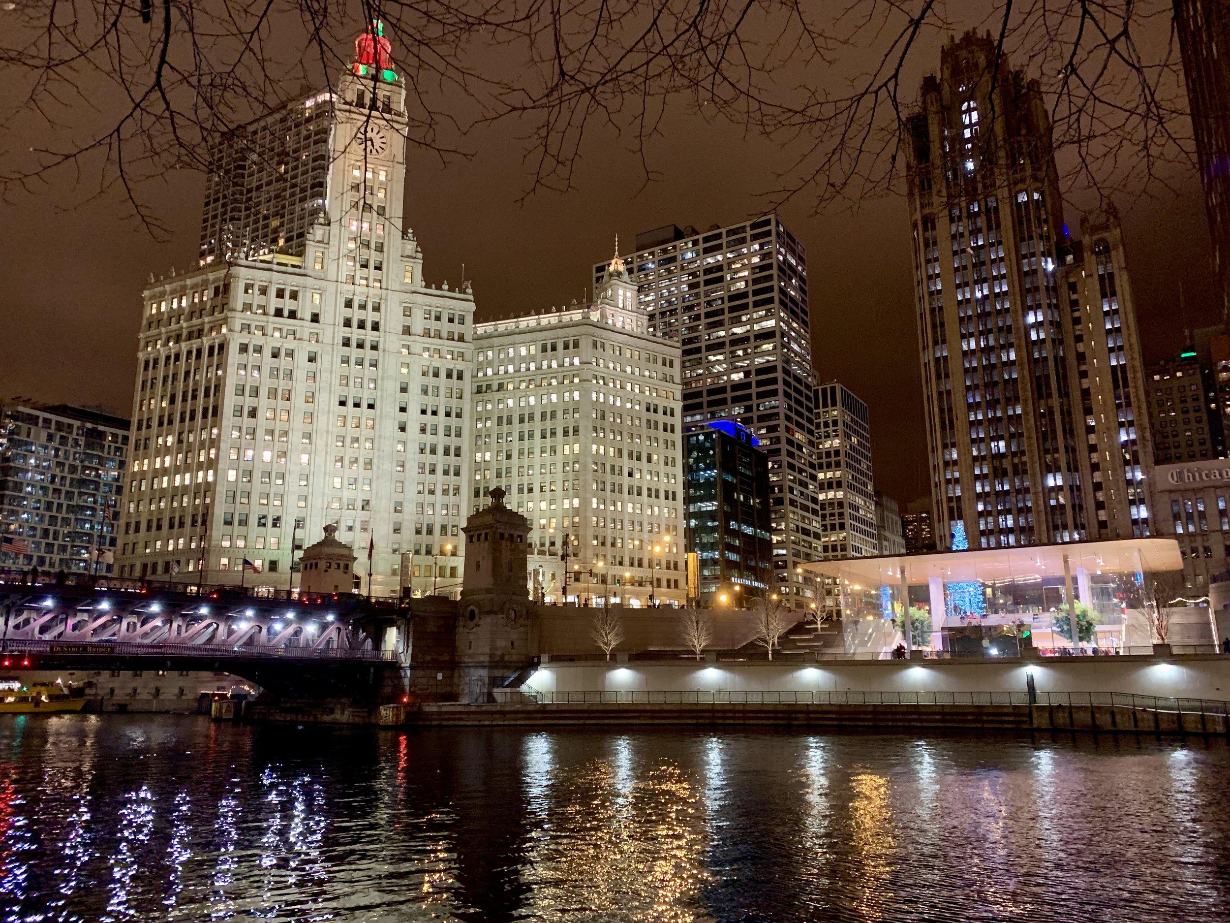 Evening jog along Chicago Riverwalk