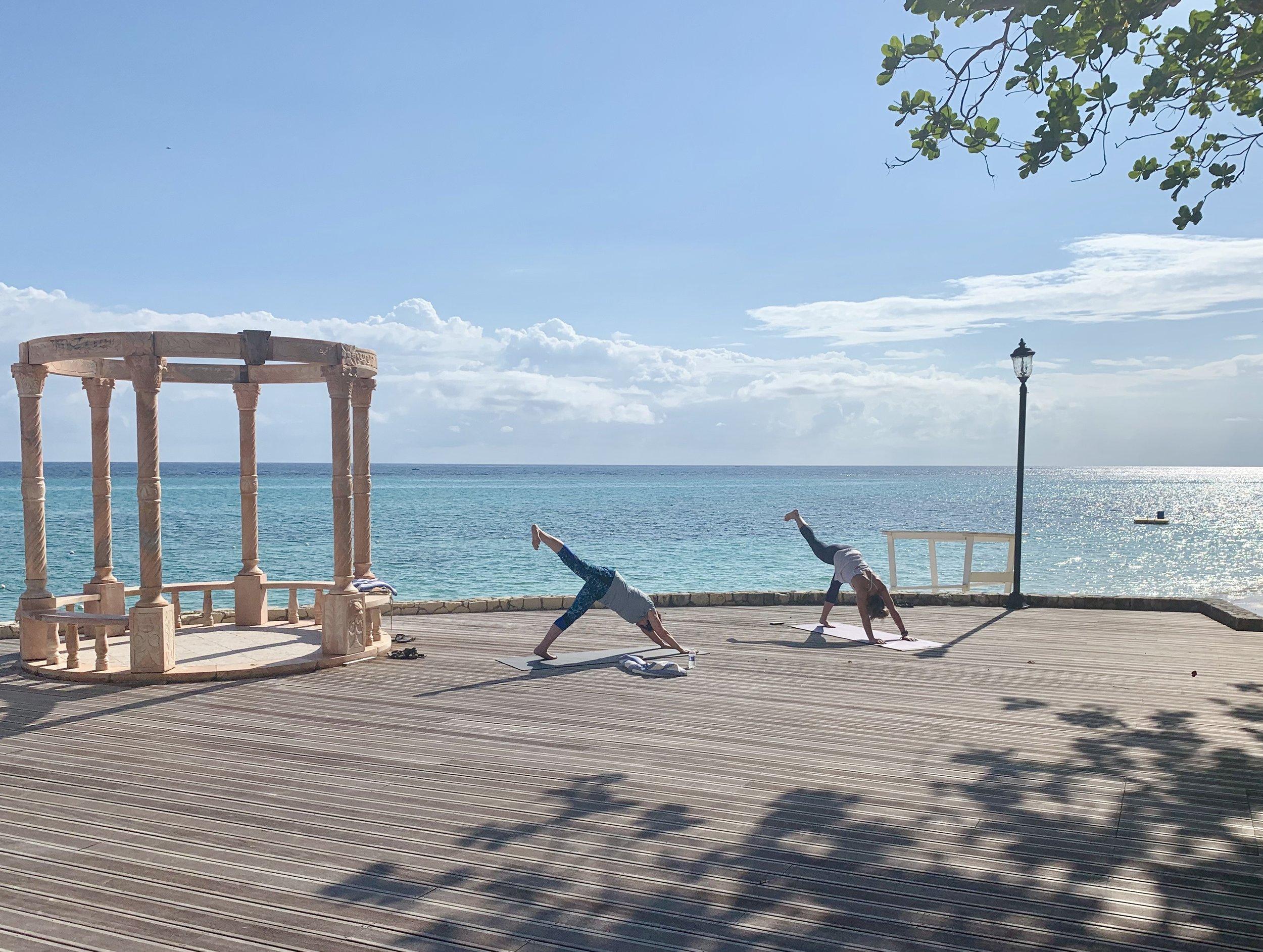 Teaching morning yoga at Jewel Dunn's River Resort