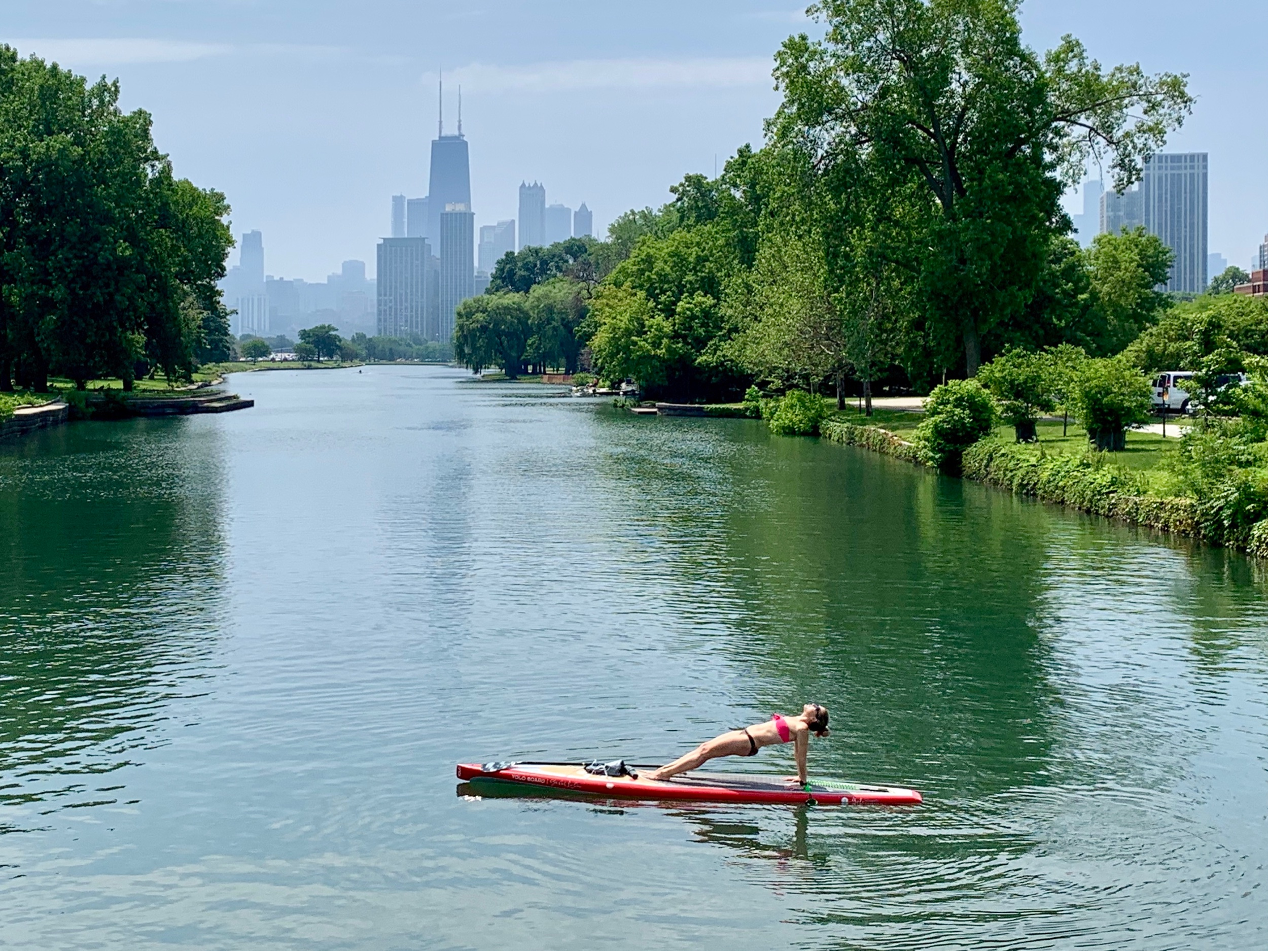 SUP Yoga on the South Lagoon in Chicago