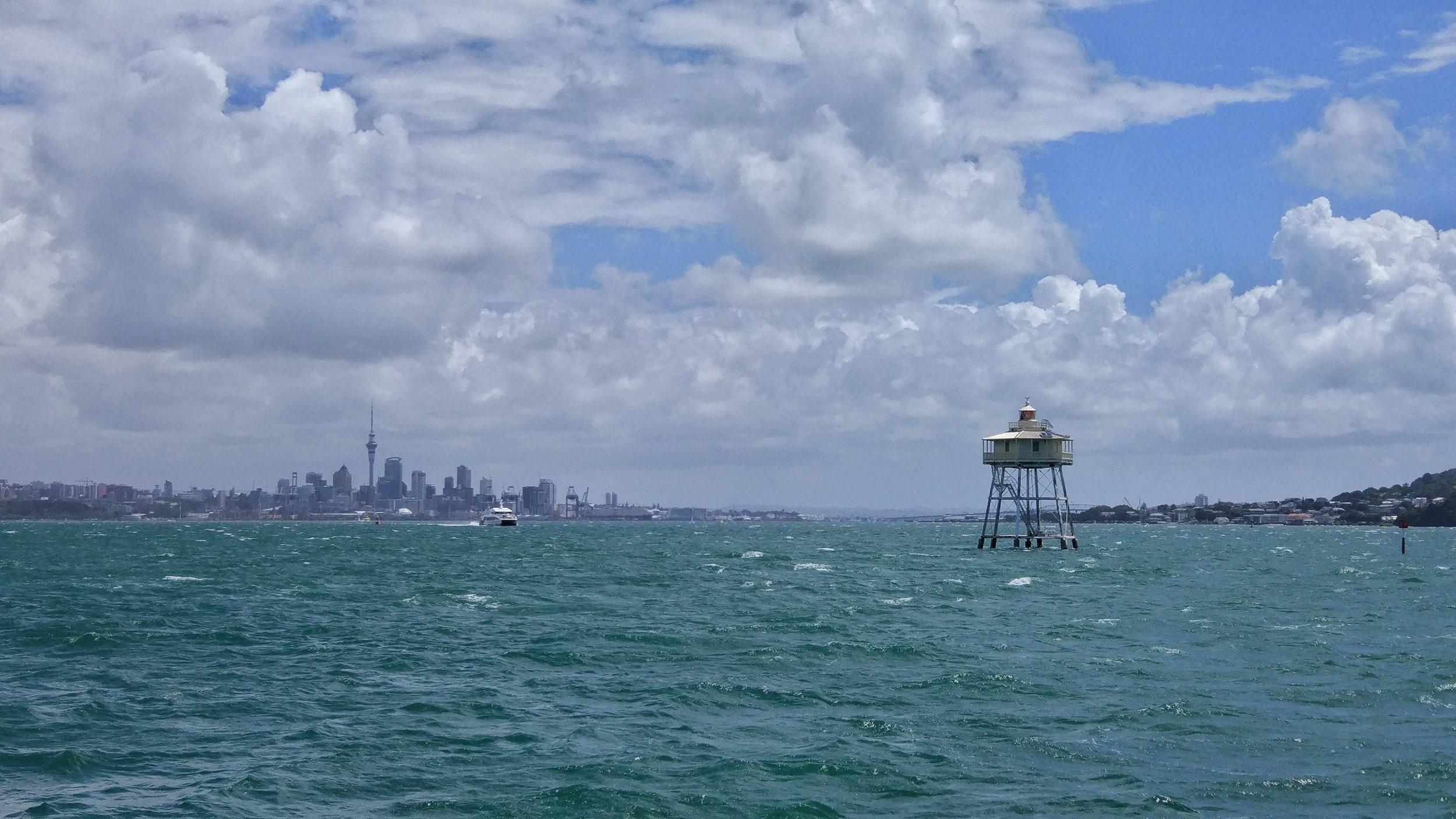Bean Rock Lighthouse with the Auckland Skyline - lovely!
