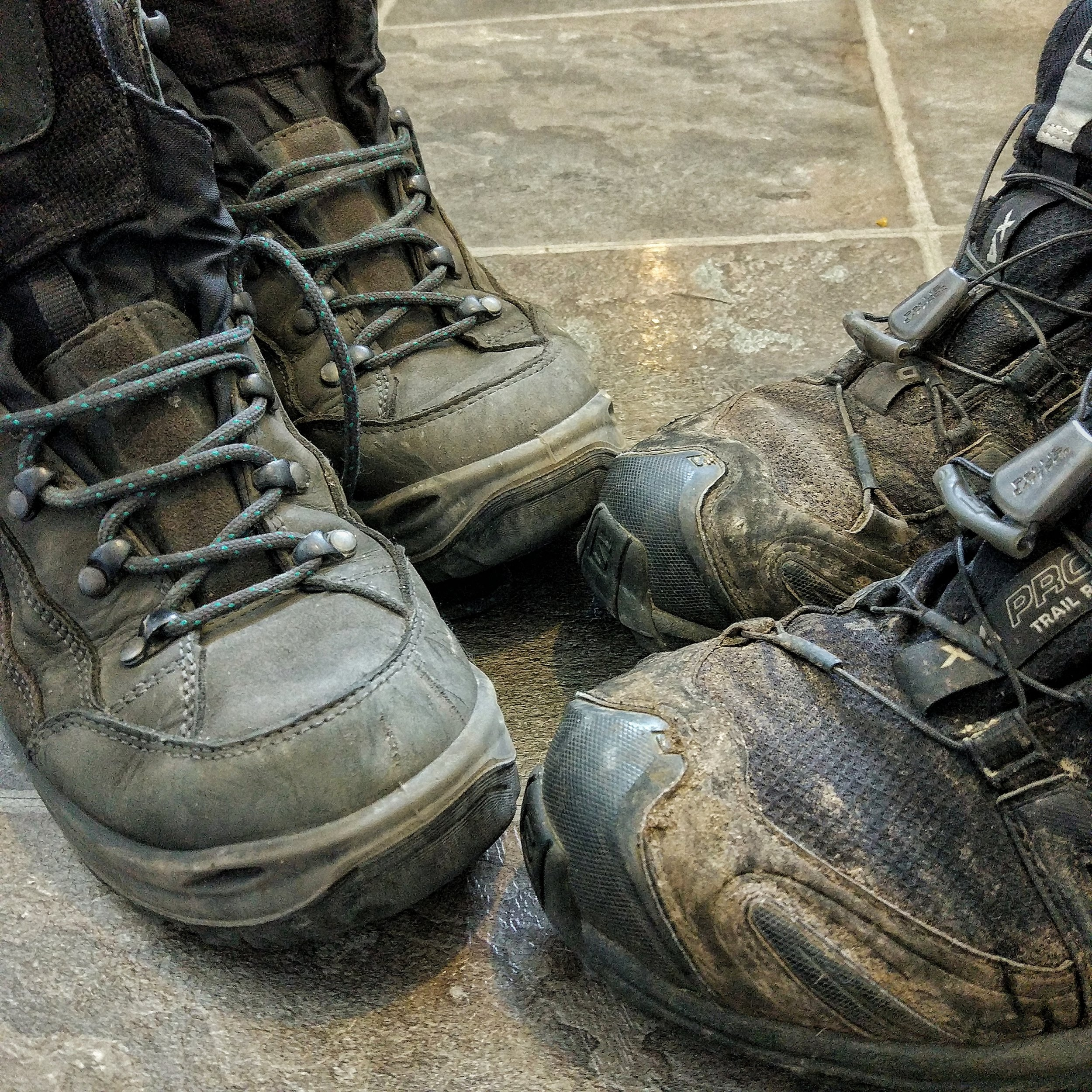 Clean vs dirty. Make sure your shoes are spotless when entering New Zealand