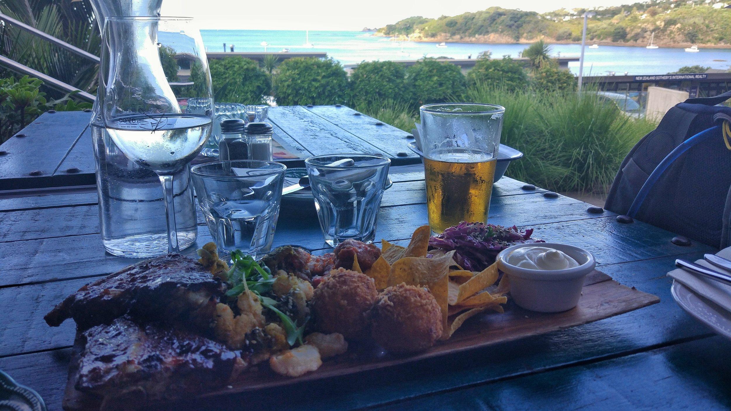 Pub grub, a glass of wine and a beer on Waiheke island