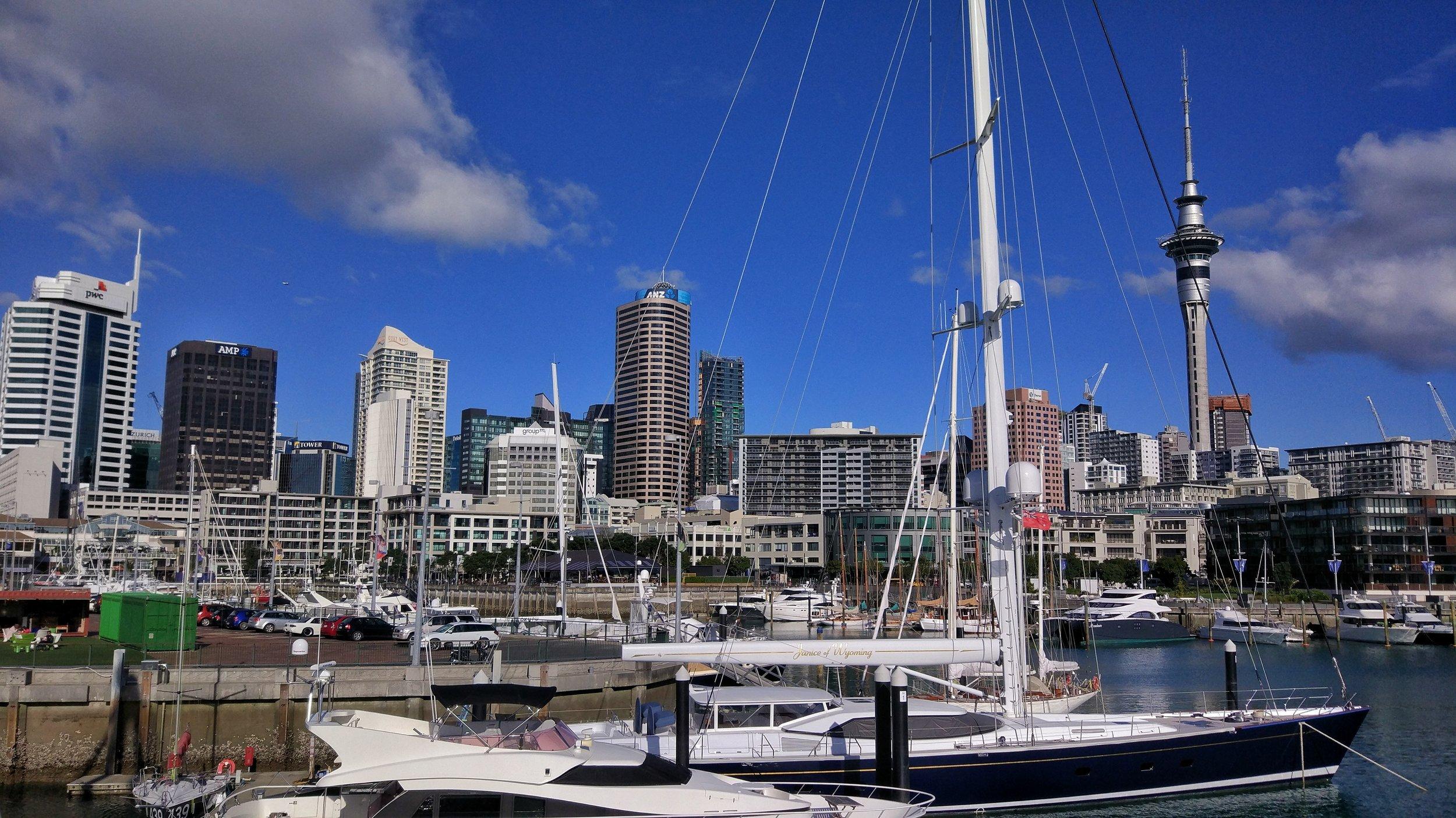 Auckland's skyline from the Wynyard Quarter