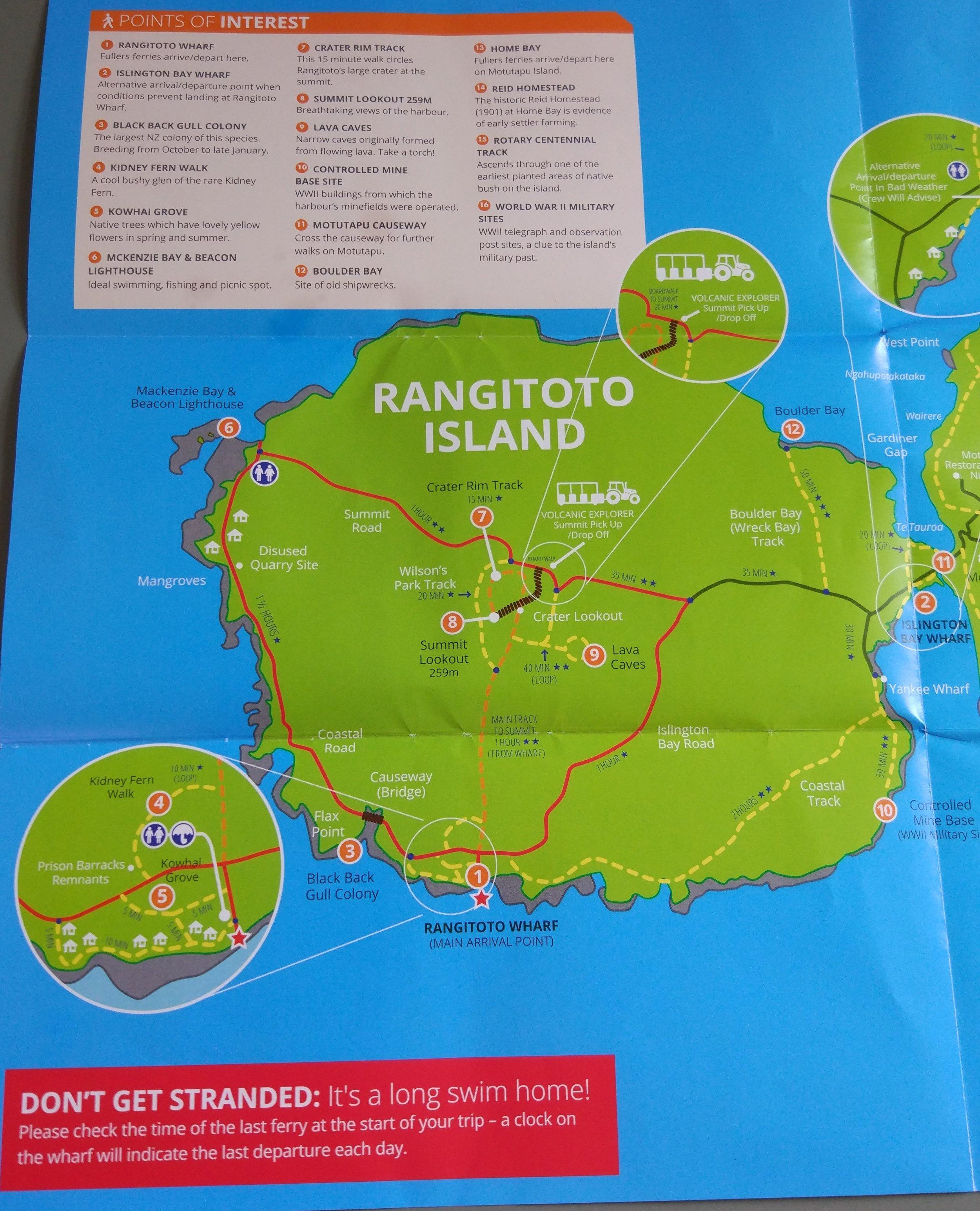 Rangitoto island map with walks