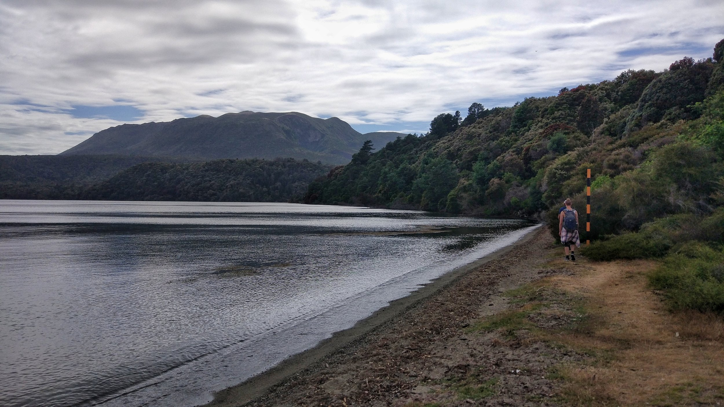 Beginning of the Tarawera Trail, with Mount Tarawera in the background