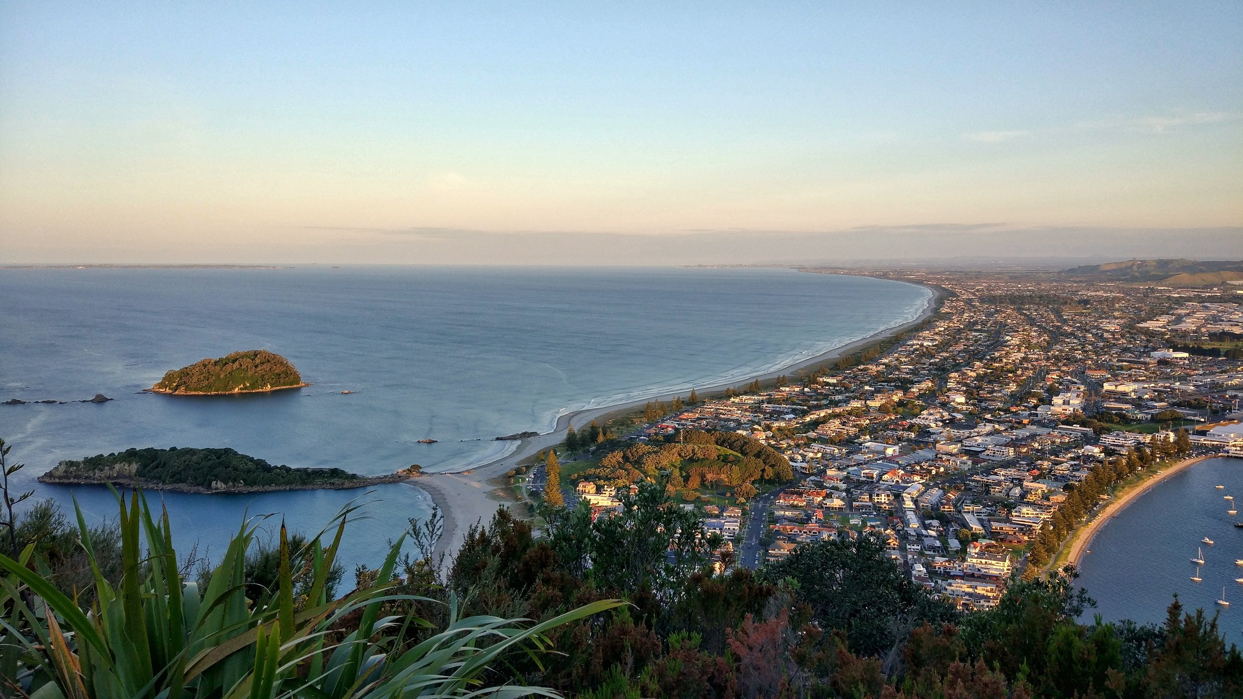 View from mount maunganui during golden hour