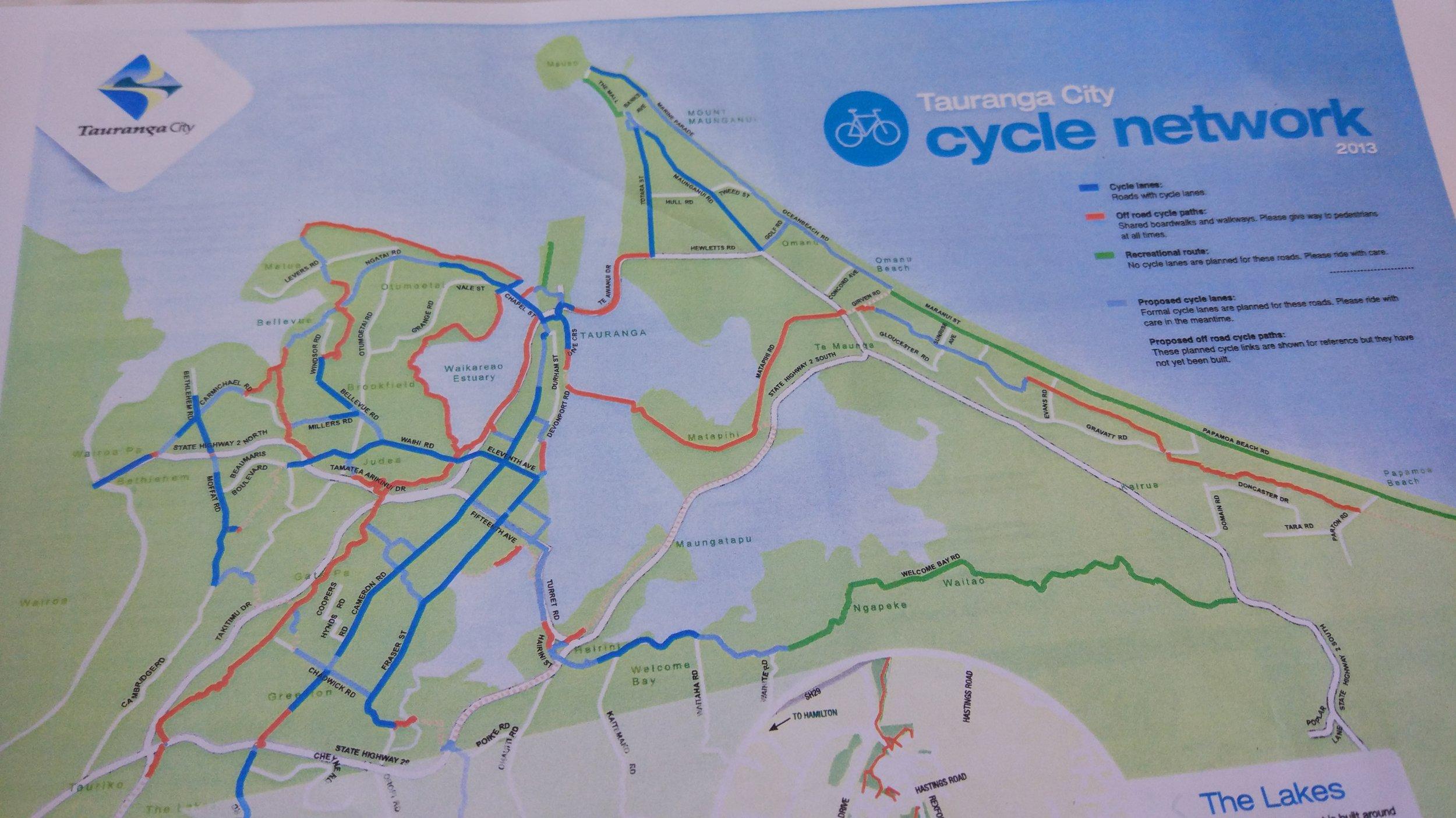 Tauranga Cycling map