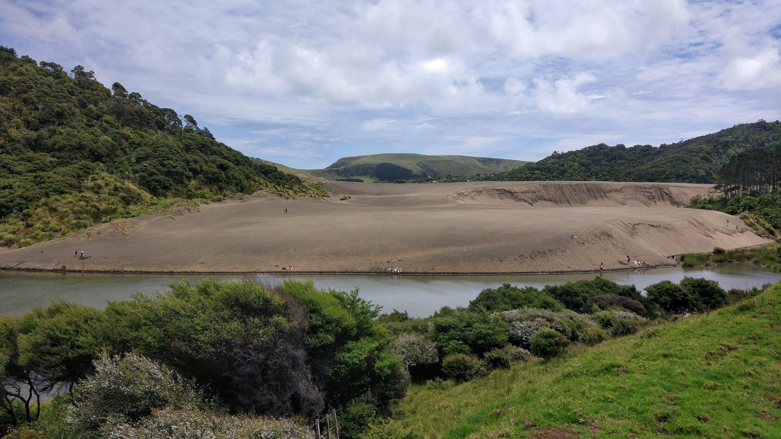 Surf a sand dune at Lake Wainamu -