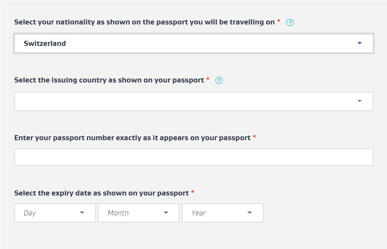 sTep 2: Enter passport details